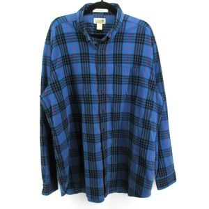 LL Bean Scotch Plaid Flannel Button Up Shirt